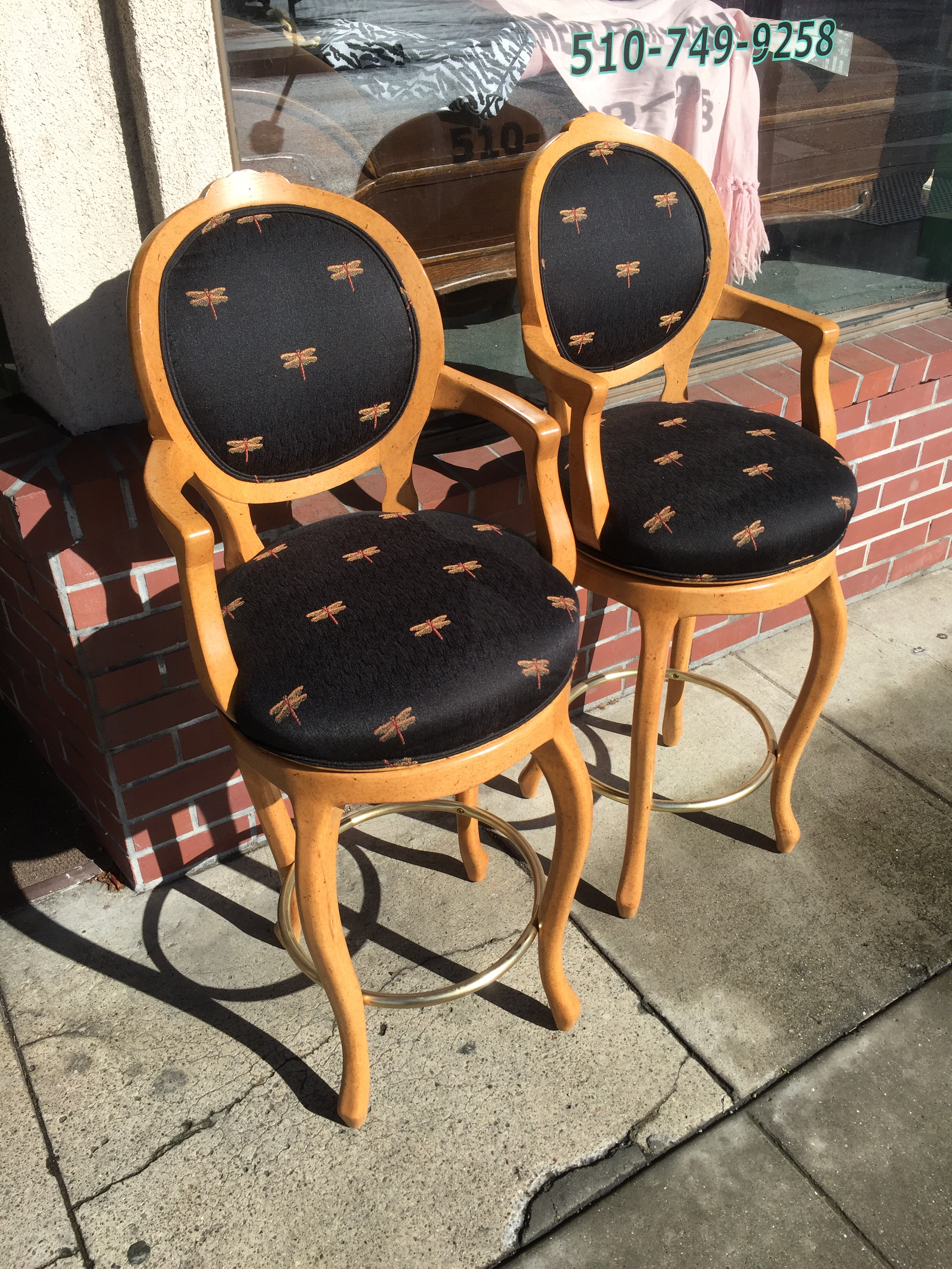 Pair Lily Jack Bar Stools . Beautiful Exotic Wood And Whimsical Dragonfly  Upholstery. These Swivel Bar Stools Just Came In The Store.